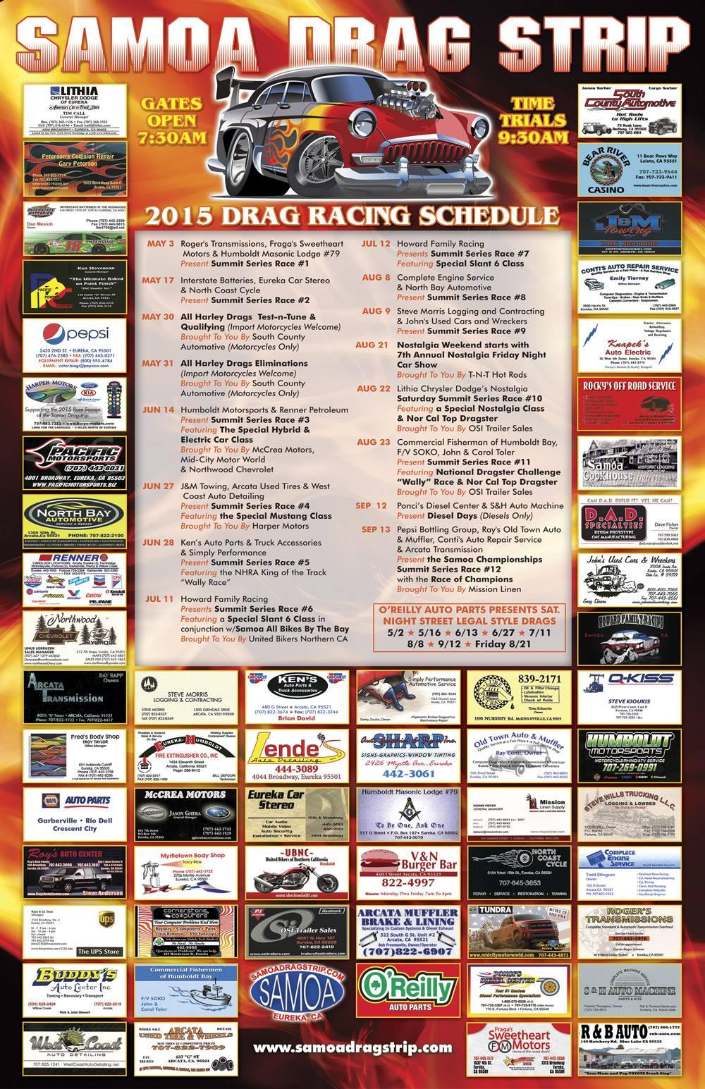 Samoa Dragstrip 2015 Calendar